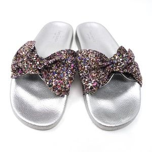 Kate Spade | Glitter silver bow Shellie sandals, 7